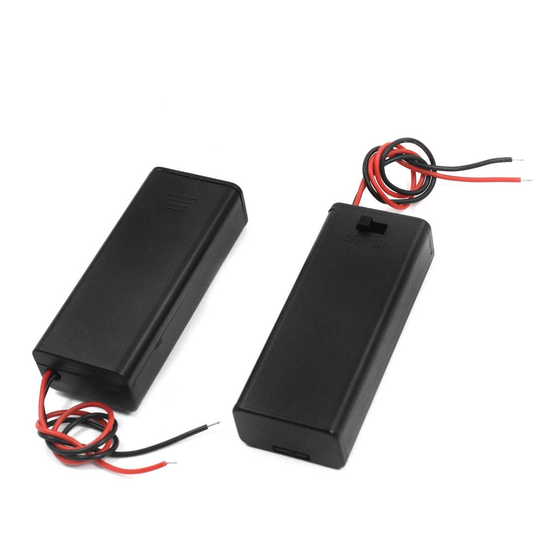 2 Pcs Two Wired Leads ON/OFF Switch Black Plastic Shell 2 x 1.5V AAA Battery Holder Case Container Box w Slide Cover