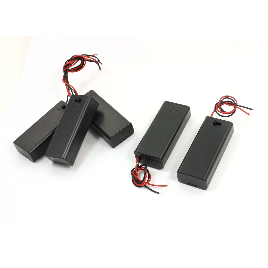 5 Pcs Two Wired Leads ON/OFF Switch Plastic Shell 2 x 1.5V AAA Battery Holder Case Box w Slide Cover