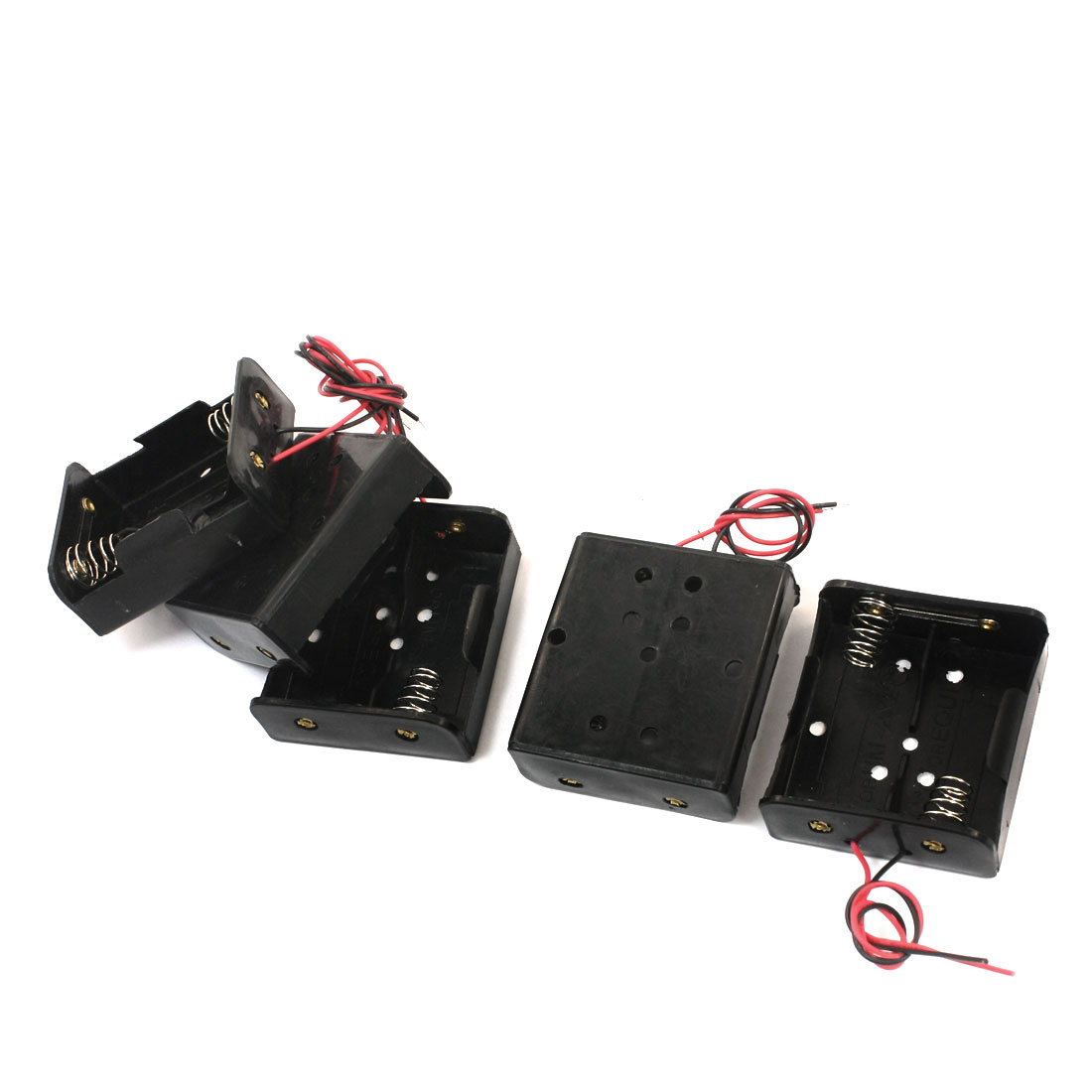 5 Pcs Dual Wire Spring Loaded Black Plastic Shell 2 x C 1.5V Battery Holder Case Cell Storage Box Container