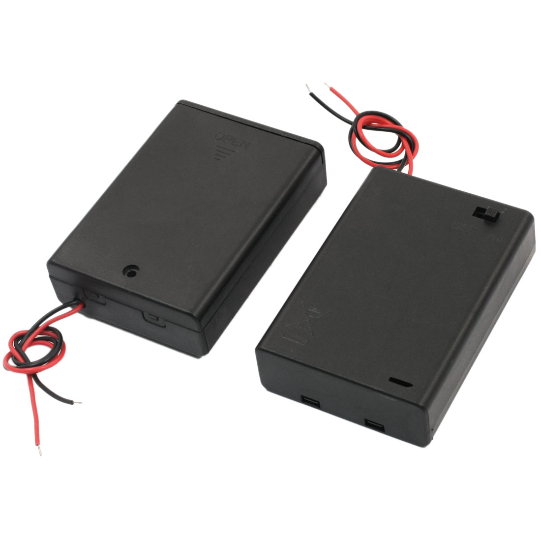 2Pcs Dual Wired Leads Slide Cover Plastic Shell 3 x 1.5V AA Battery Holders Cases Containers Boxes w ON/OFF Switch