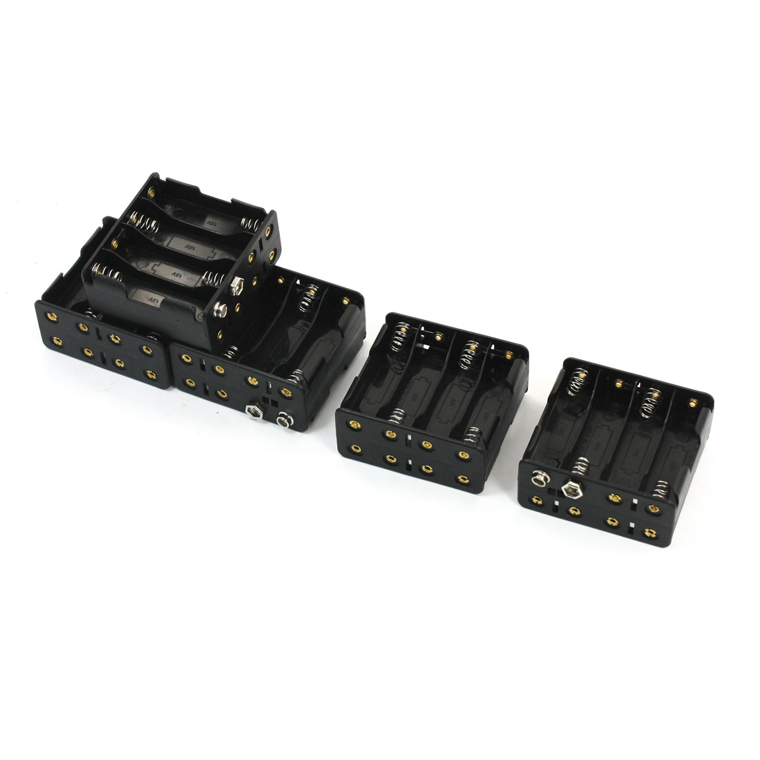 5 PCS Flat Tip Spring Loaded Two Sides Plastic 8 x 1.5V AA Batteries Holder Case Cell Box w 9V Battery Clip