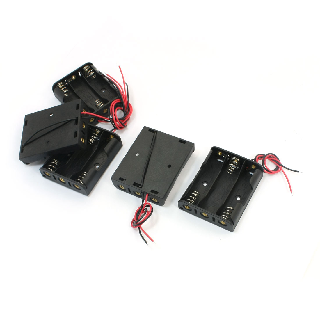 5 PCS Spring Loaded Plastic 3 x 1.5V AA Battery Holders Cases Boxes