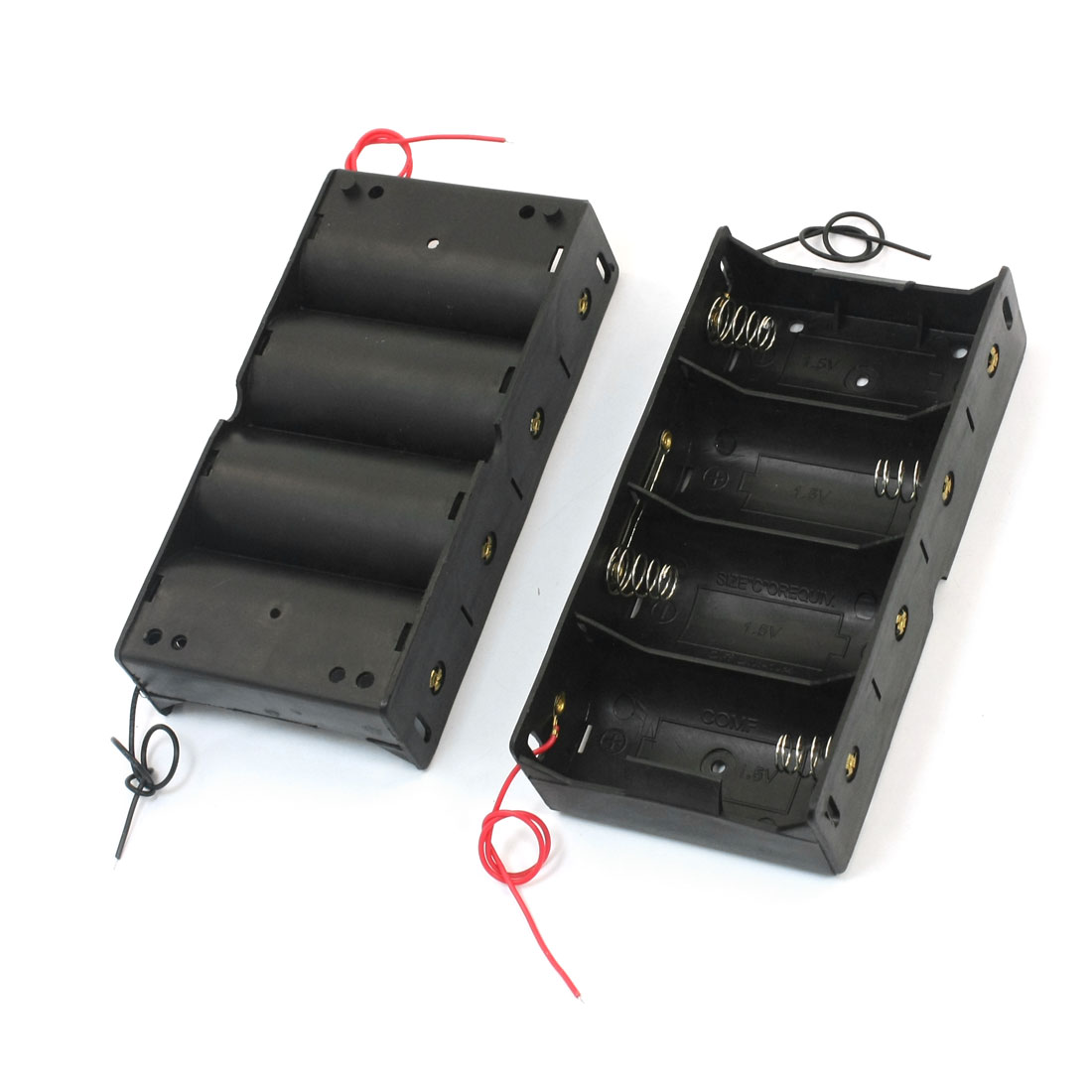 2 Pcs Spring Loaded Double Wired Rectangle Plastic Shell 4 x D 1.5V Battery Holder Case Storage Box