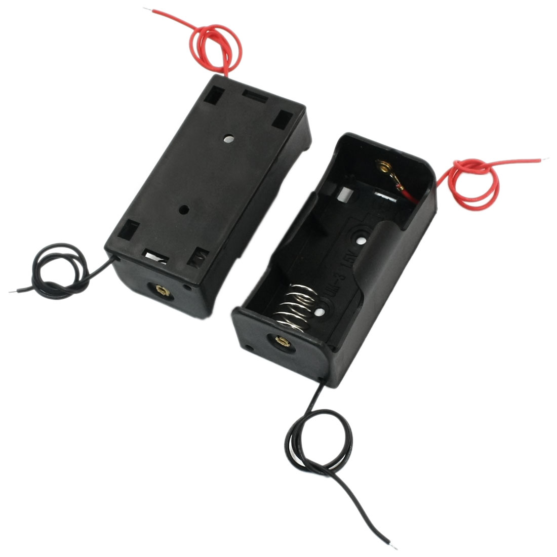 2 Pcs Two Wire Spring Loaded Black Plastic Shell 1 x C 1.5V Battery Holders Cases Cell Storage Boxes Containers