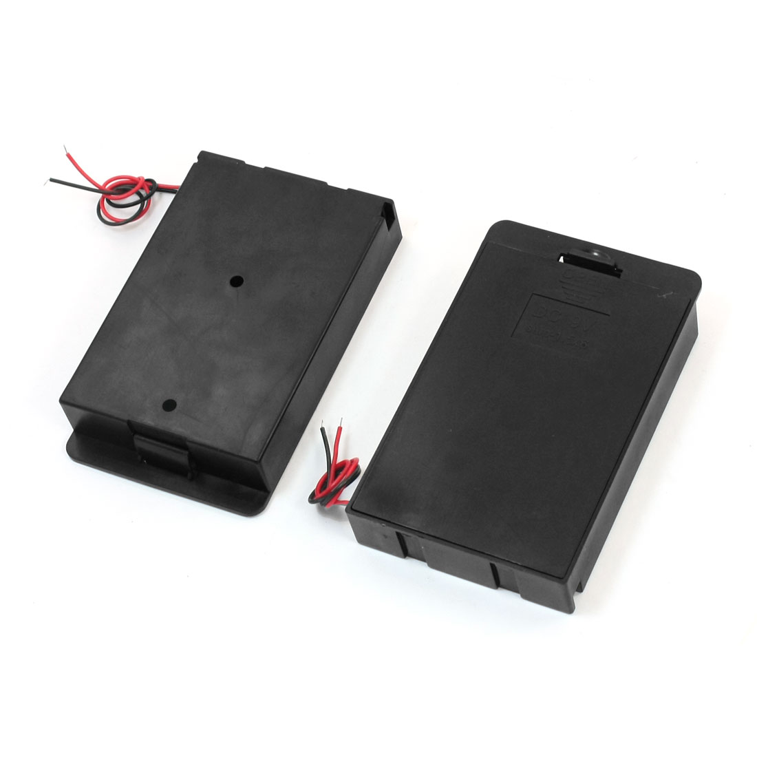 2 PCS Double Wired Leads Plastic Cover Black 6 x 1.5V AA Battery Holder Case Container Box