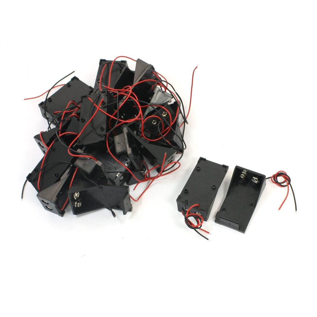 20 Pcs Two Wire Leads Open Frame Plastic Shell 9V Battery Holders Cases Cell Storage Boxes Containers