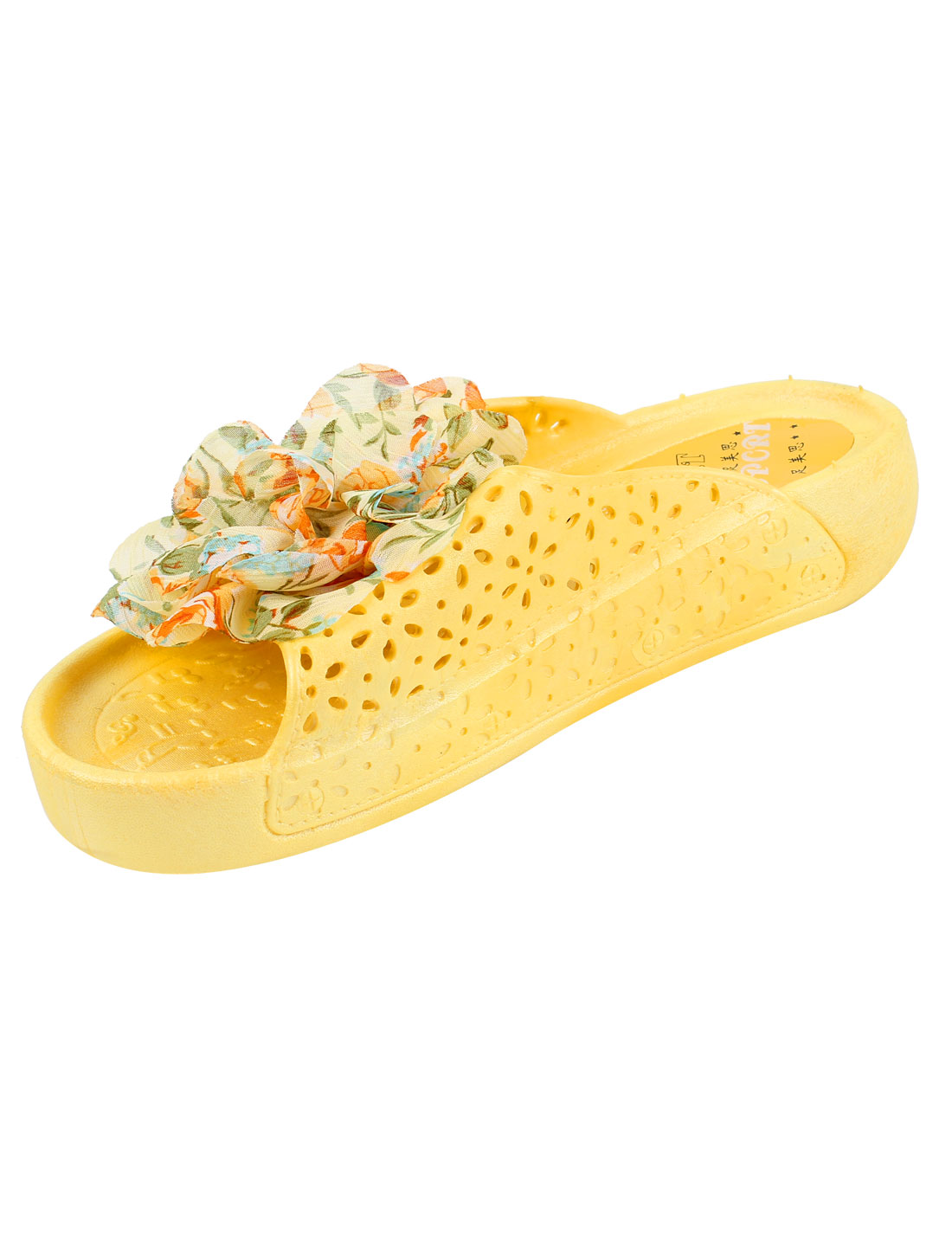 Ladies Hollow Out Flower Non-skid Plastic Slippers Flip Flop Yellow Pair US 7.5