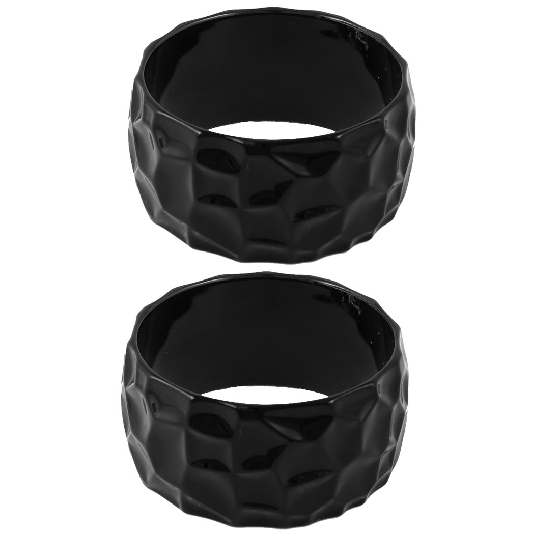 Woman Black Plastic Irregular Pentagon Pattern Bracelet Wrist Ornament 2 Pcs