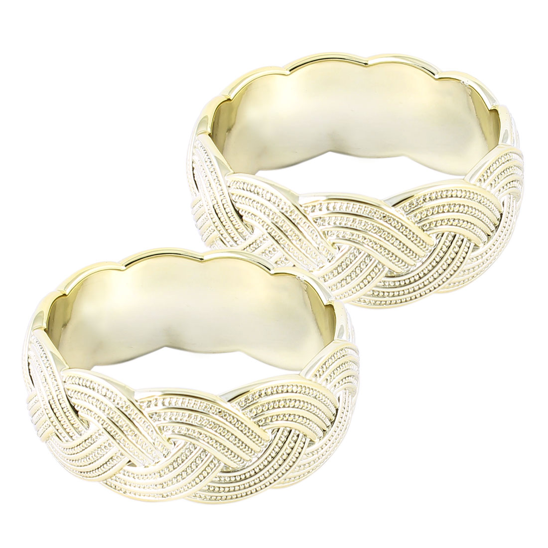 Woman Gold Tone Plastic Braid Pattern Bracelet Wrist Ornament 2 Pcs