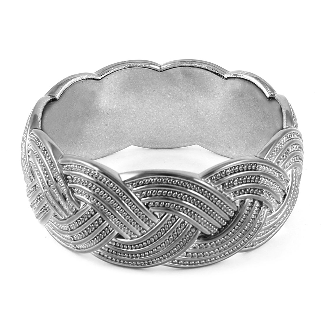 Woman Steel Gray Plastic Braid Pattern Bracelet Wrist Ornament