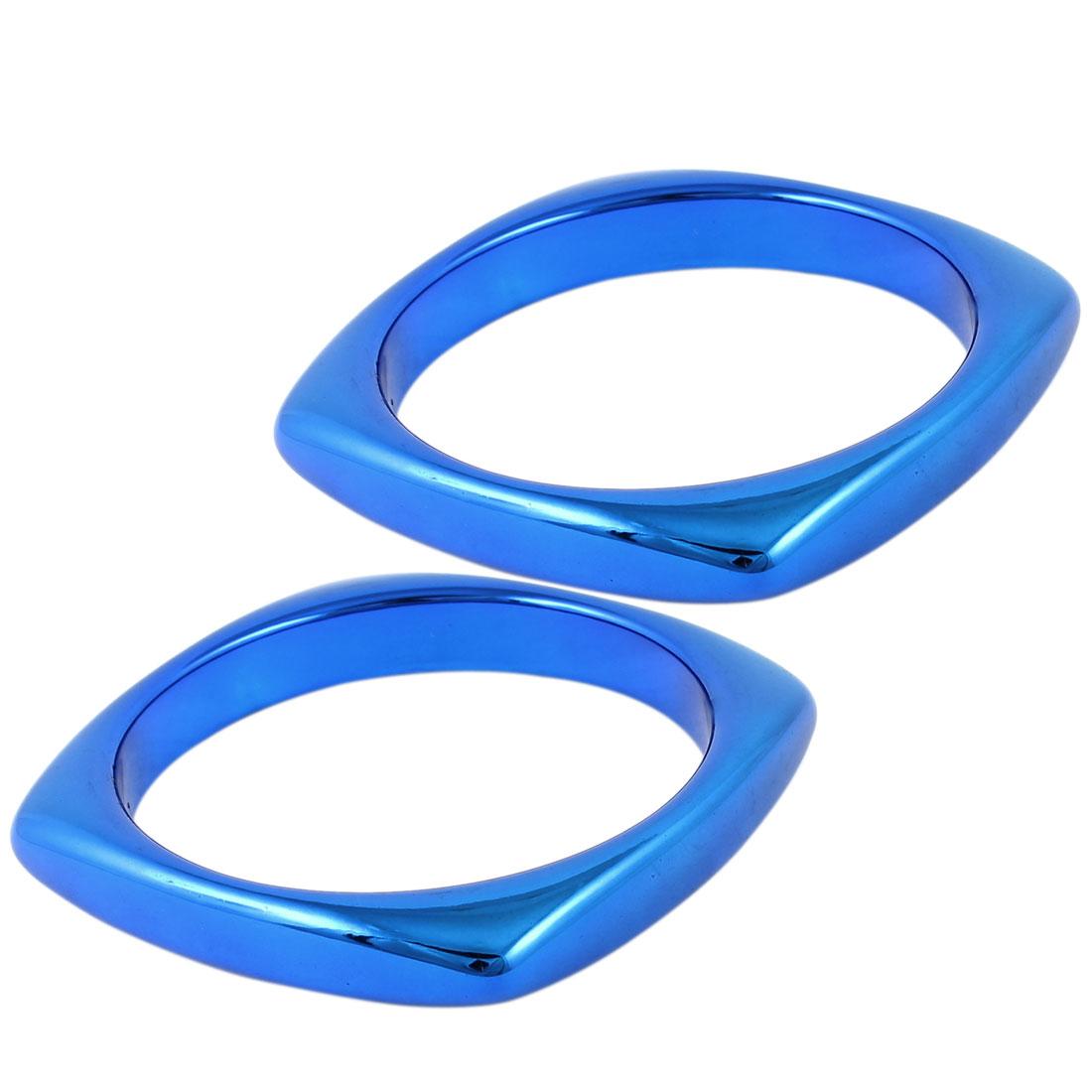 Woman Square Design Blue Plastic Bracelet Wrist Ornament 2 Pcs
