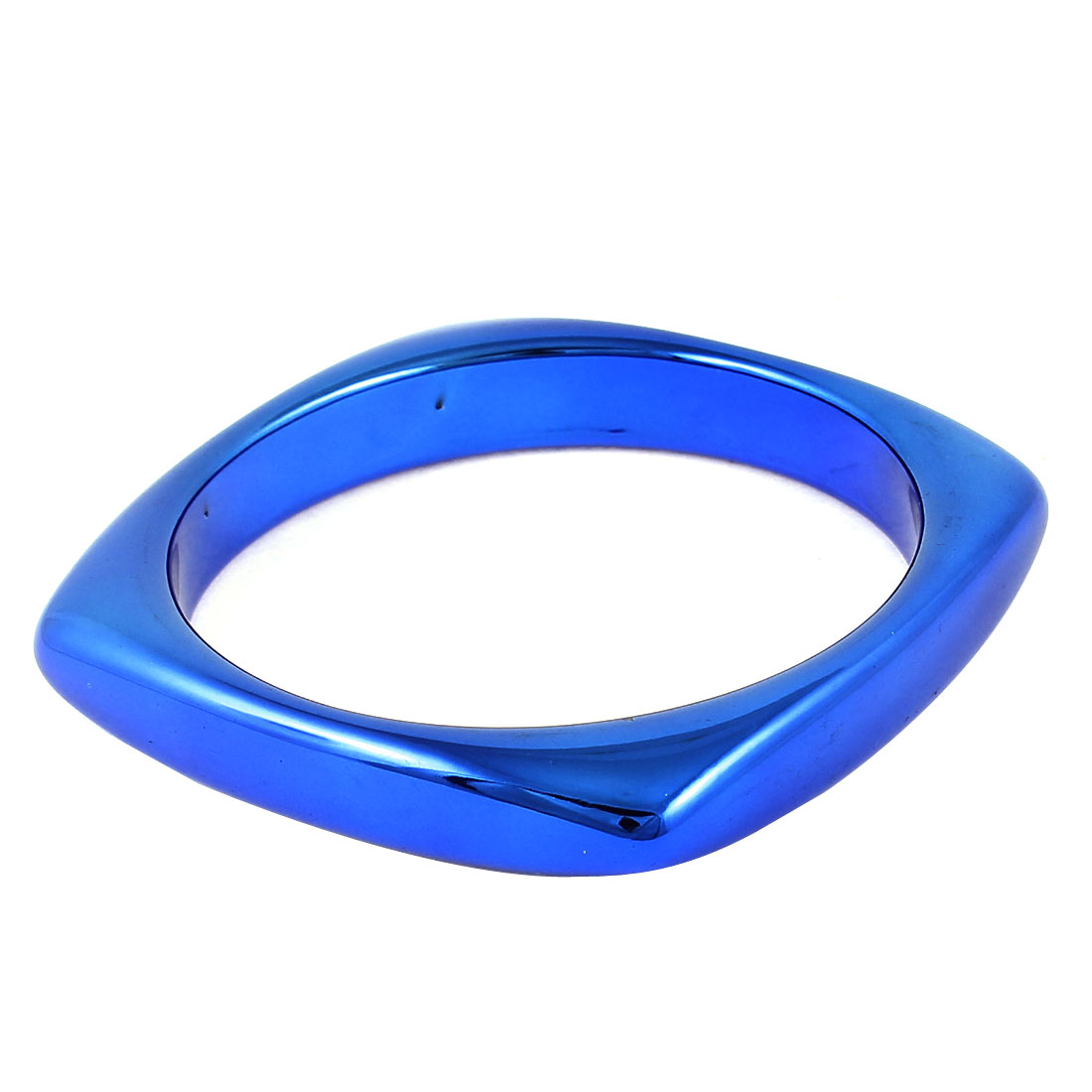 Woman Square Design Blue Plastic Bracelet Wrist Adorning