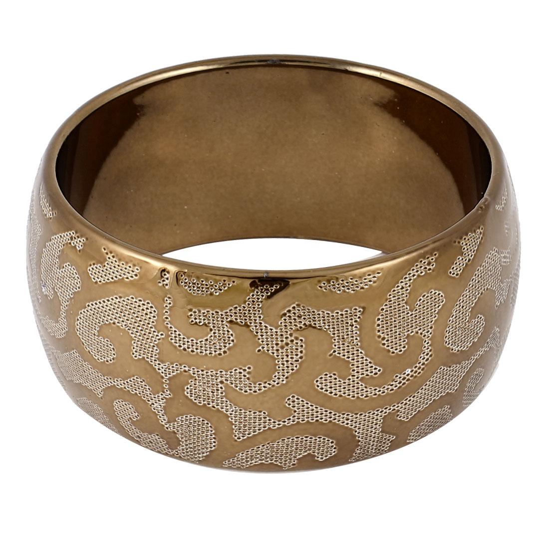Woman Dark Brown Plastic Swirl Floral Print 3.5cm Width Bracelet Wrist Ornament