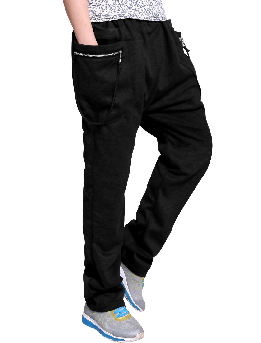 Man Stretchy Waist Double Pocket Design Black Casual Pants W34