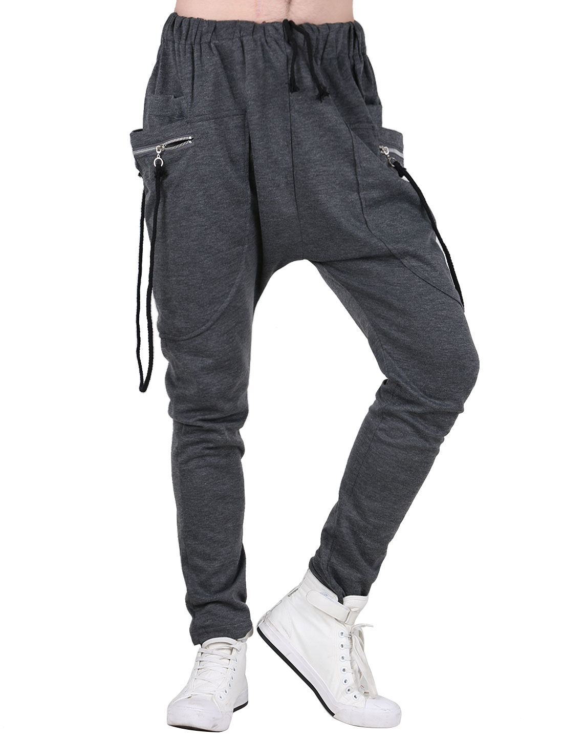 Men New Style Stretchy Waist Design Dark Gray Casual Pants W28/30