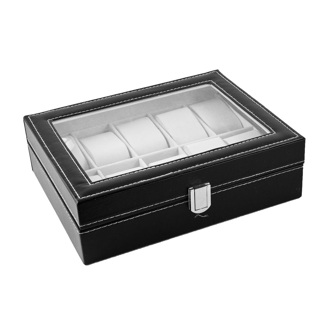 Black 10 Compartment Gift Bracelet Watch Display Box Holder Container