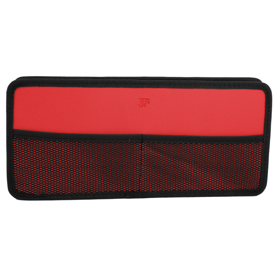 Red Black Nylon Rectangle Zip up VCD DV CD Discs Holder Bag for Auto Car