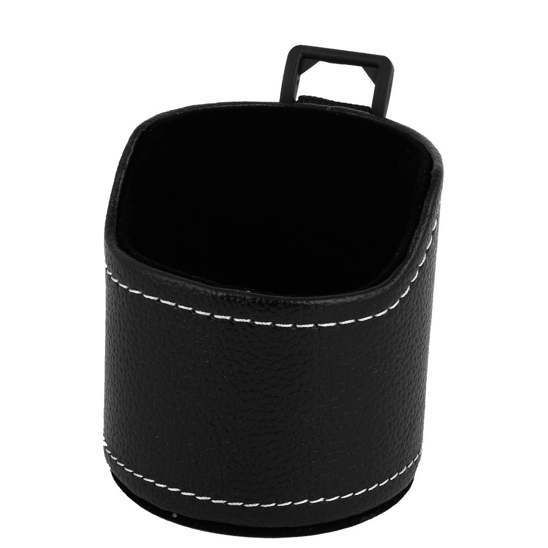 Black Faux Leather Auto Car Sundry Phone Organizer Case Storage