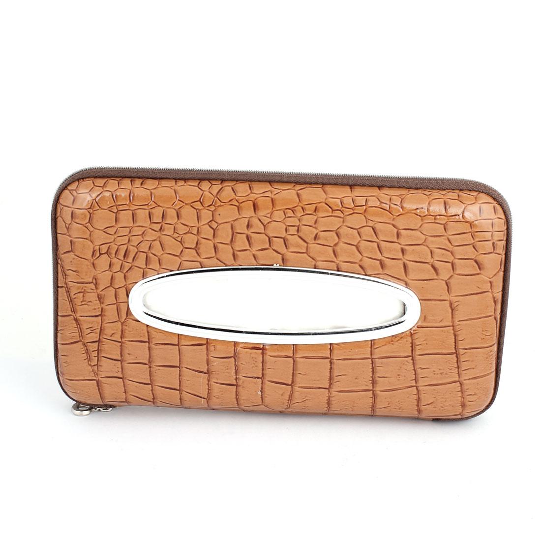 Auto Car Brown Crocodile Print Faux Leather Zipper Closure Paper Tissue Box Holder