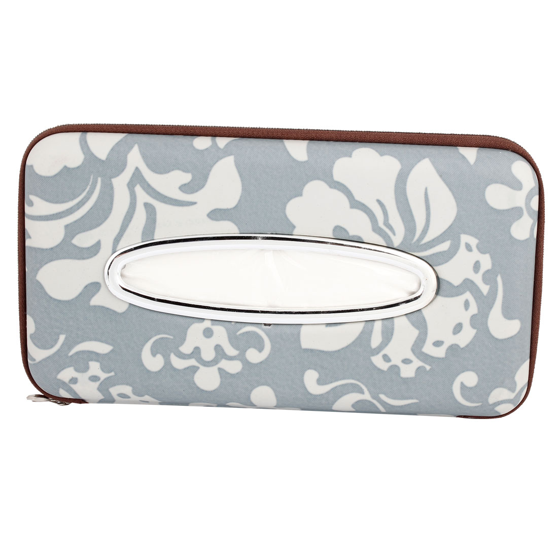 Floral Pattern Faux Leather Zipper Closure Car Paper Tissue Box Holder