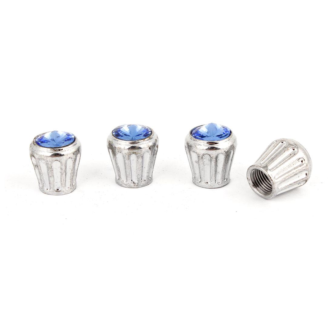 4 Pcs 7mm Inner Dia Blue Plastic Rhinestone Detail Tire Valve Cap Cover for Auto