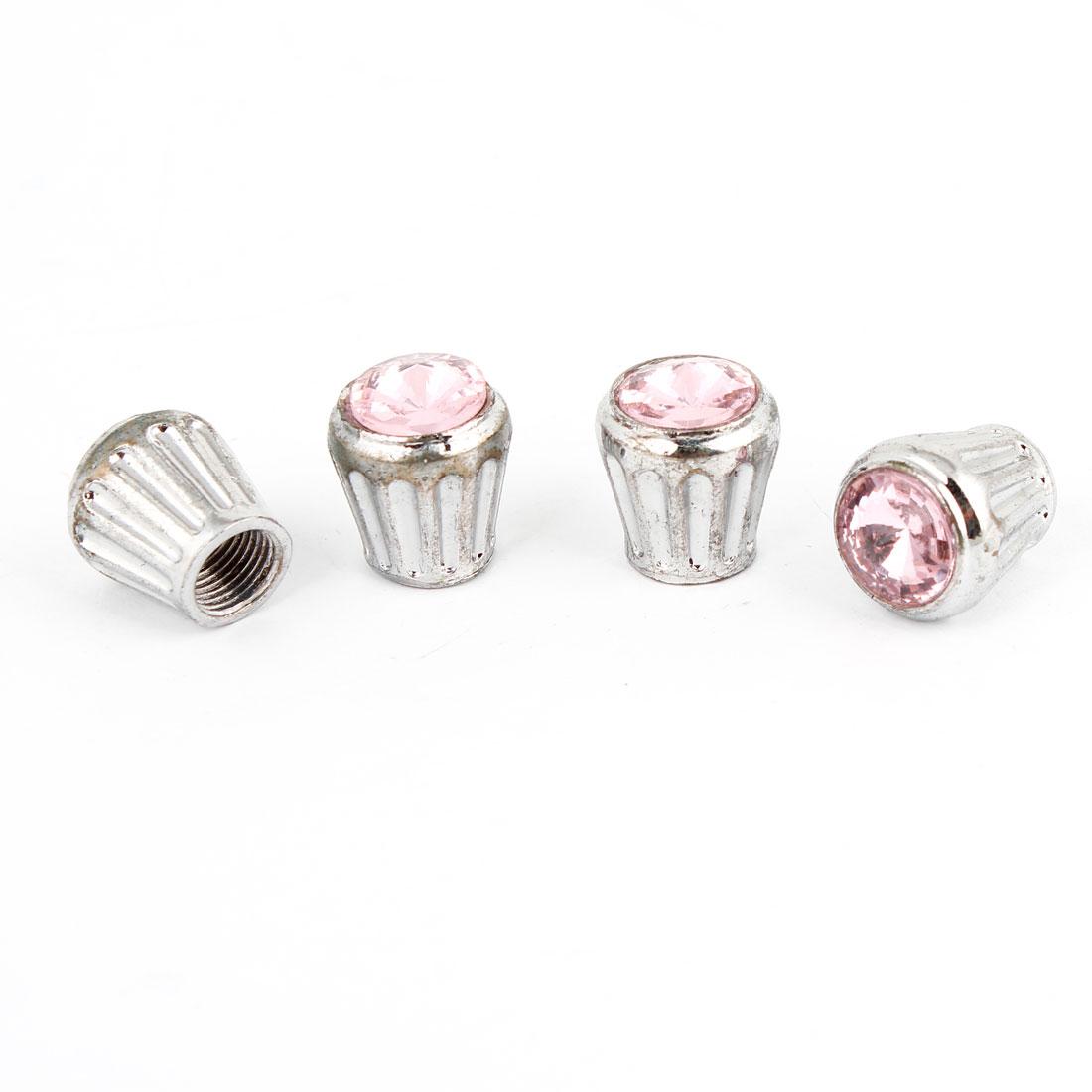 4 Pcs Pink Faux Rhinestone Detail Auto Car Tire Valve Cap Cover 7mm Inner Dia