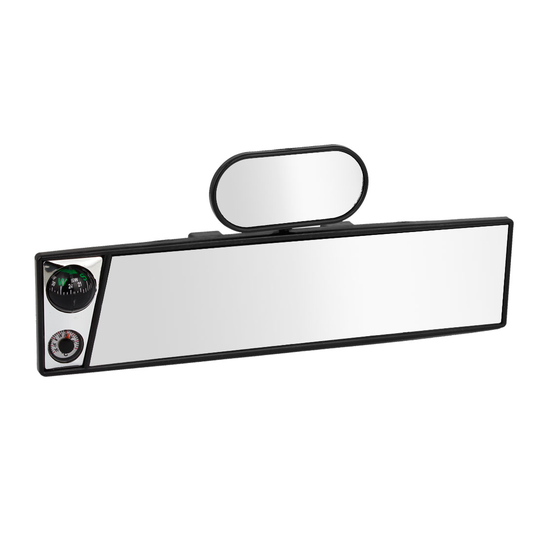 Auto Car Interior Plastic Frame Flat Wide Angle Viewing Compass Rearview Mirror w Blind Spot Mirror