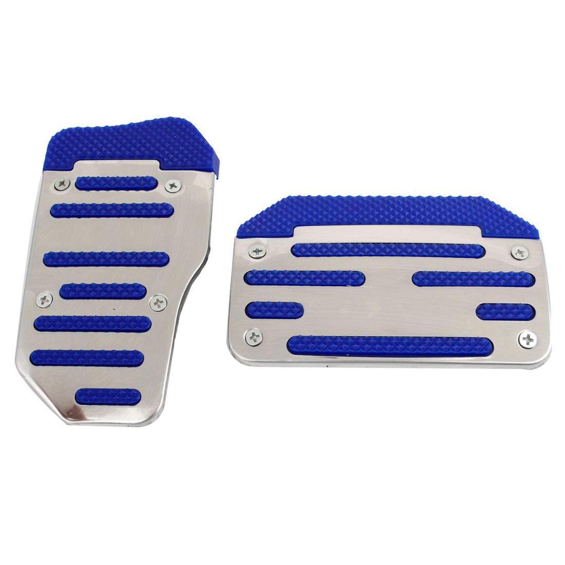 Aluminum Non-Slip Car Pedal Sports Automatic Cover Blue 2 Pcs Set