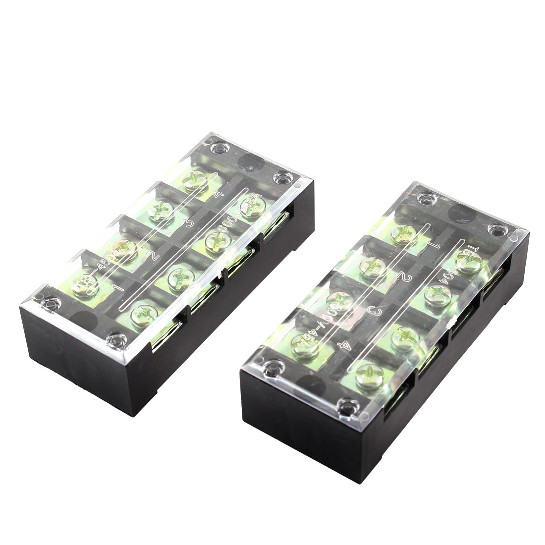 600V 45A Dual Row 4P Screw Connector Electric Barrier Terminal Block Strip 2 Pcs