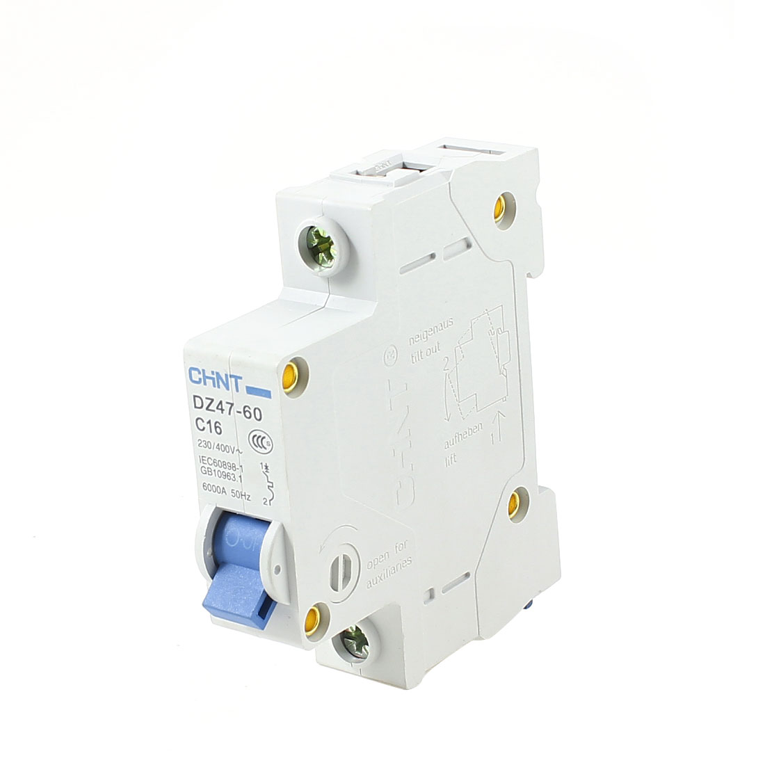35mm DIN Rail Mounted One Pole Miniature Circuit Breaker AC 230/400V 16A