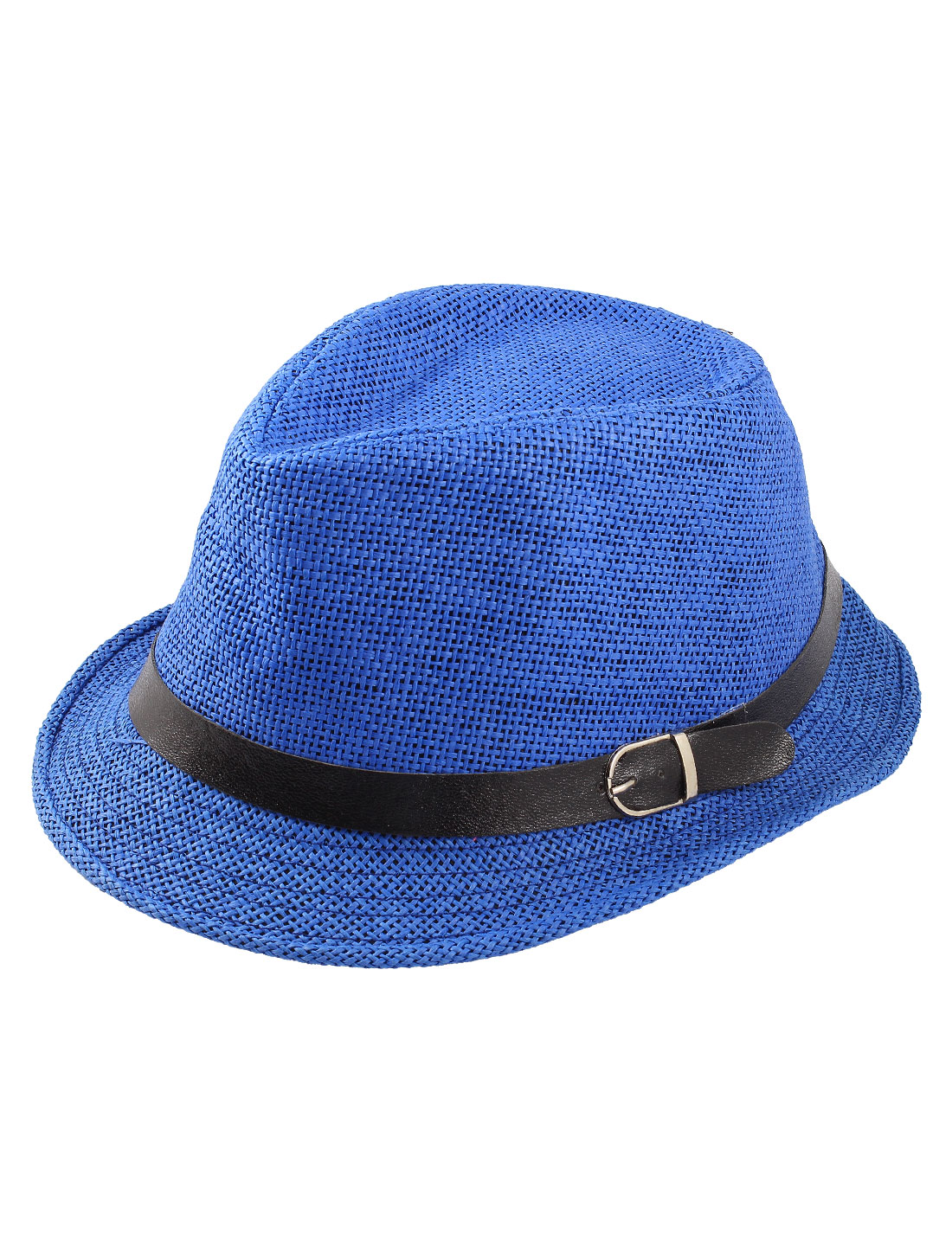 Women Men Faux Leather Belt Decor Straw Fedora Rolled Brim Hat Royal Blue