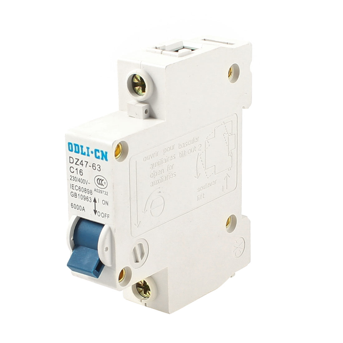 35mm DIN Rail Mounted Single Pole Miniature Circuit Breaker AC 230/400V 16A