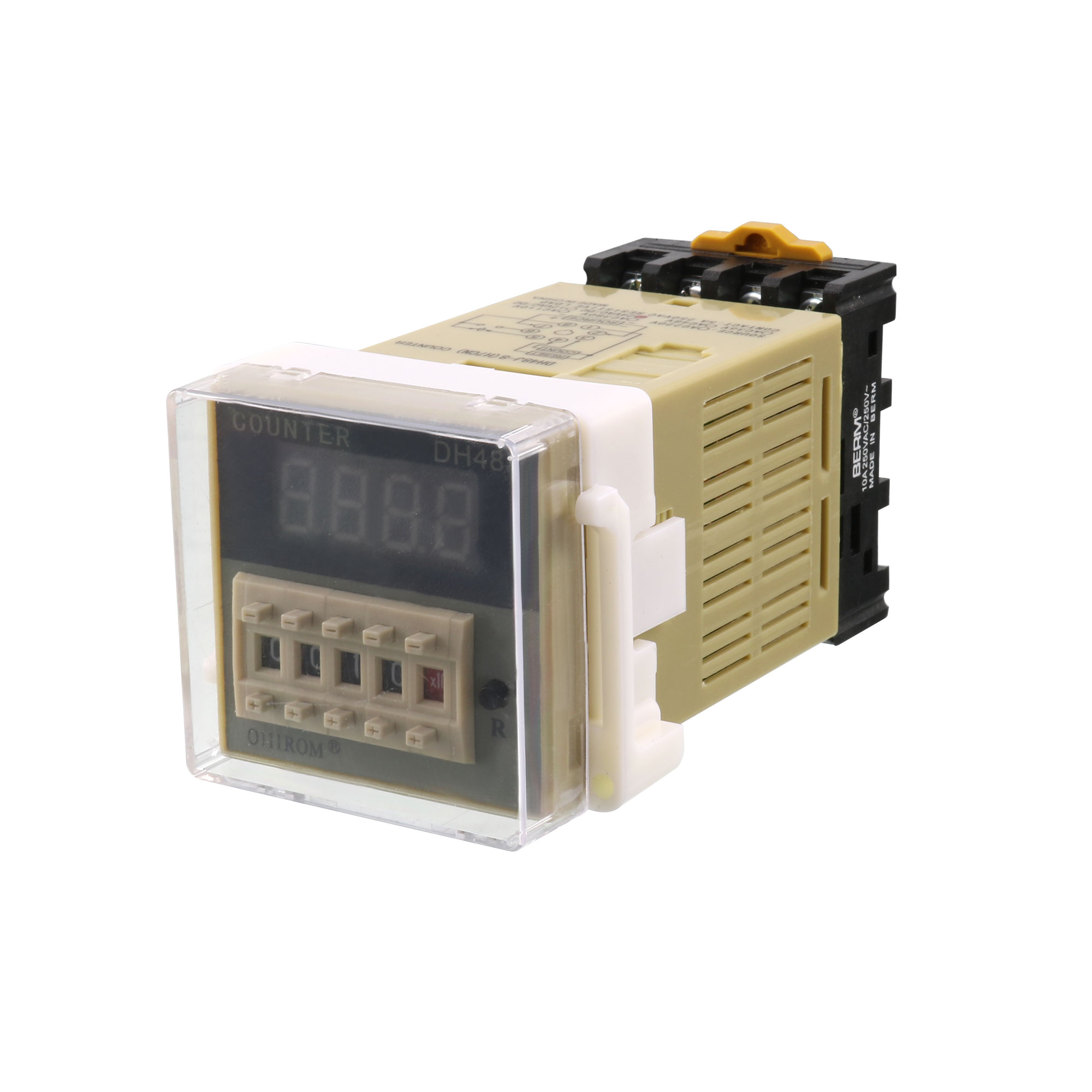 Repair Part Programmable DH48J-8 1-9999 Panel Mount Digital Counter Relay w Base AC/DC 24V 50/60Hz