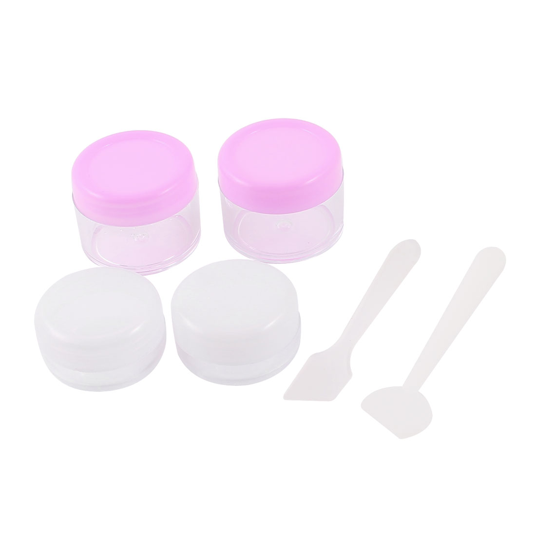 4PCS Pink White Clear Portable Empty Jar Pot Round Plastic Makeup Cosmetic Bottle Cream Container 20ml 10ml for Lady