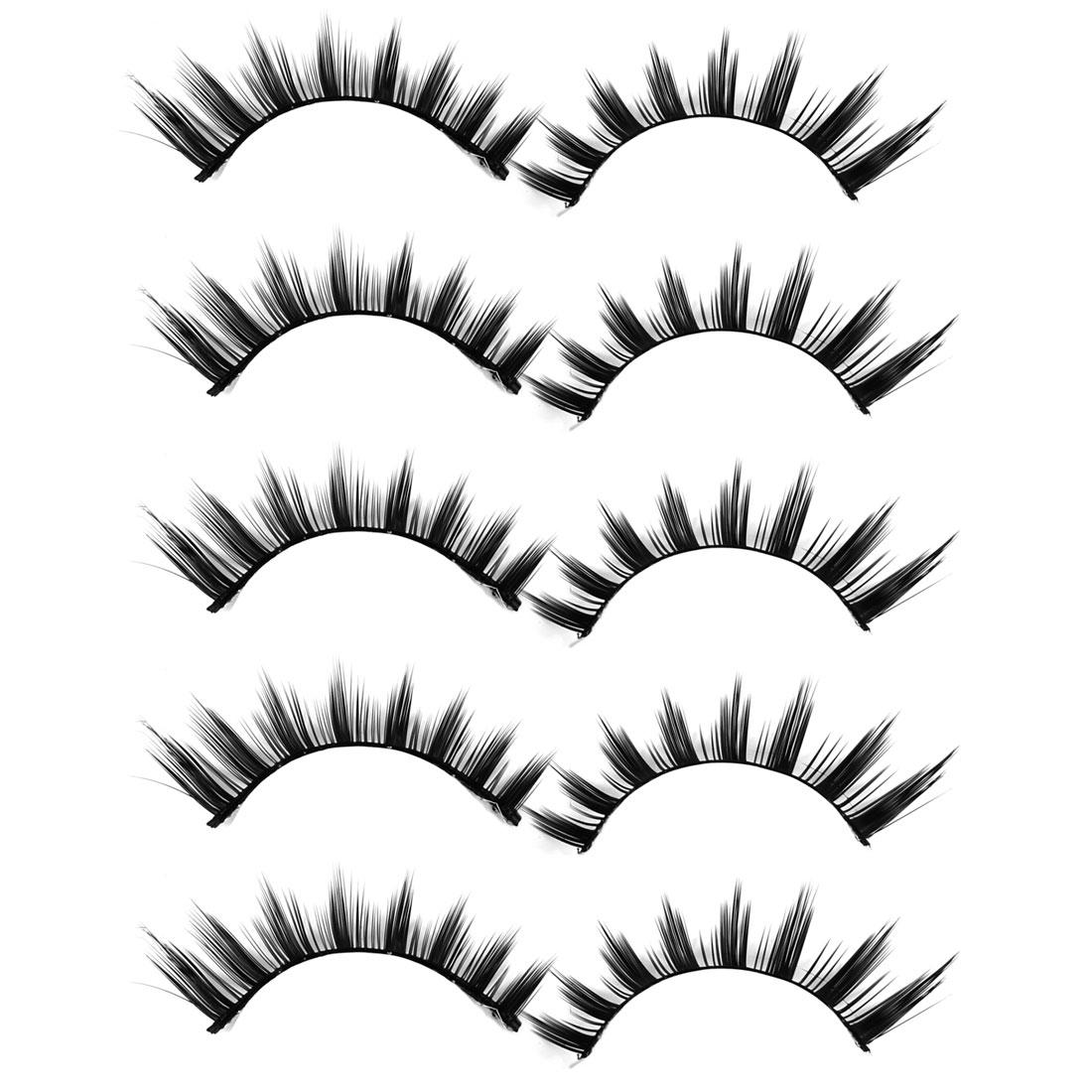 5 Pairs Black Adhesive Long Short False Fake Eye Lashes Eyelashes w Glue
