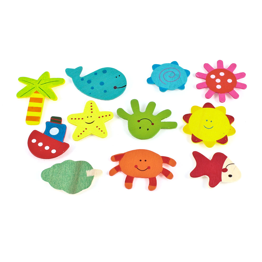 Multicolor Fridge Refrigerator Door Decor Sun Tree Fish Magnet Sticker 11 Pcs