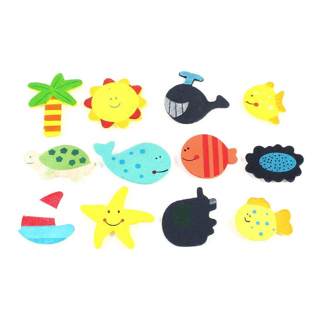 12 Pcs Colors Wooden Fish Tress Star Sticker Decor for Refrigerator