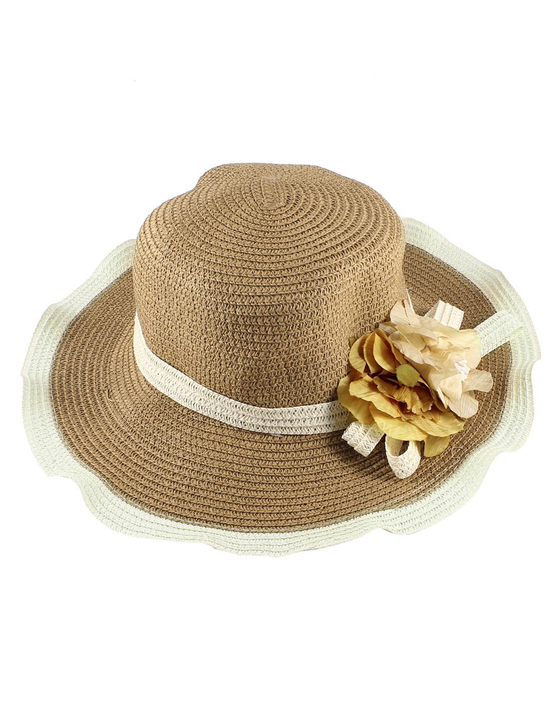 Ladies Beige Brown 3 1/8 inch Wide Brim Floral Accent Beach Sun Bucket Hat