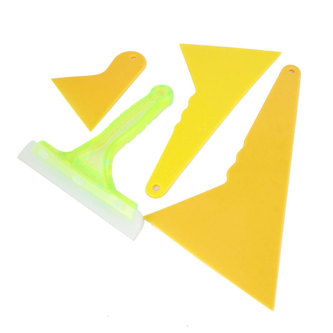 4 in 1 Auto Yellow Plastic Window Windshield Tint Film Scraper Cleaner Tool Set