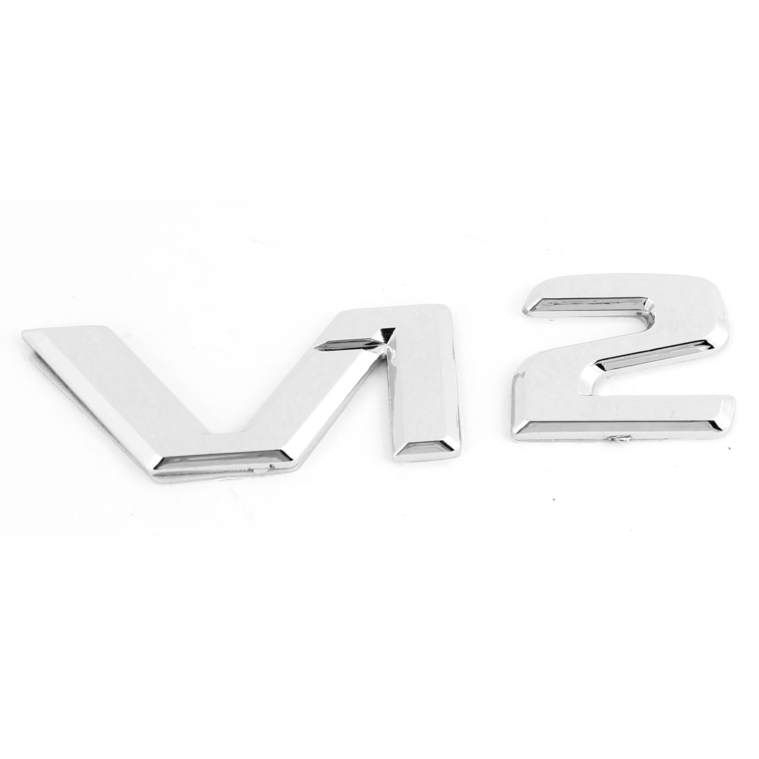Silver Tone Plastic Adhesive V12 Pattern Car Badge Sticker Emblem Decor