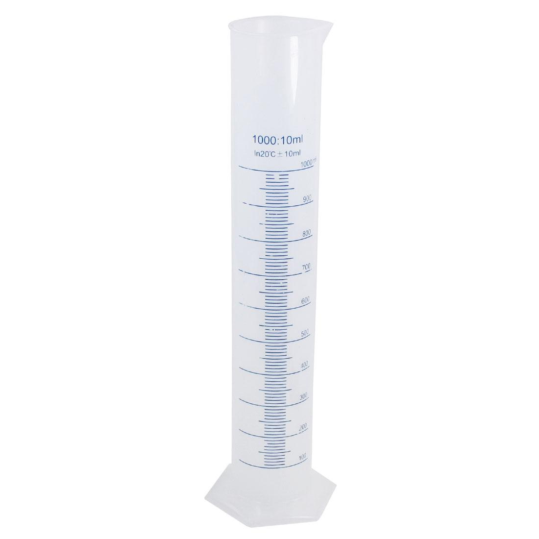 Lab Laboratory Test 41cm Height 1000ml Transparent Plastic Graduated Cylinder Measuring Cup 10ml Tolerance