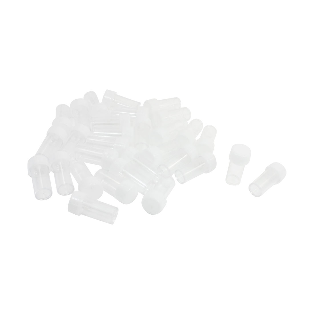 30Pcs White Cover Home Clear Plastic Round Shape Urine Test Cups 10mL