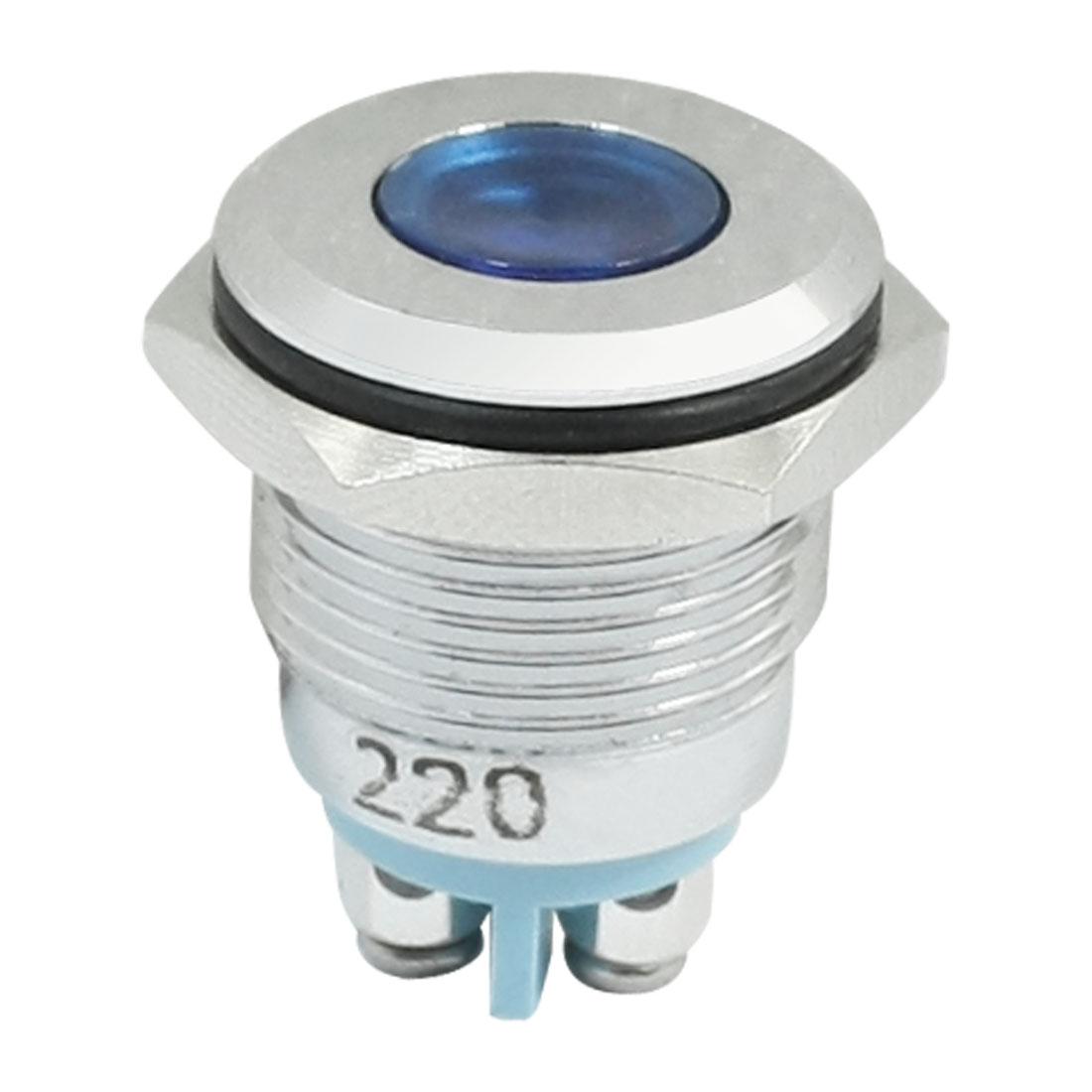 MQ16F-B 16mm Waterproof Blue LED Light Metal Signal Lamp DC 220V