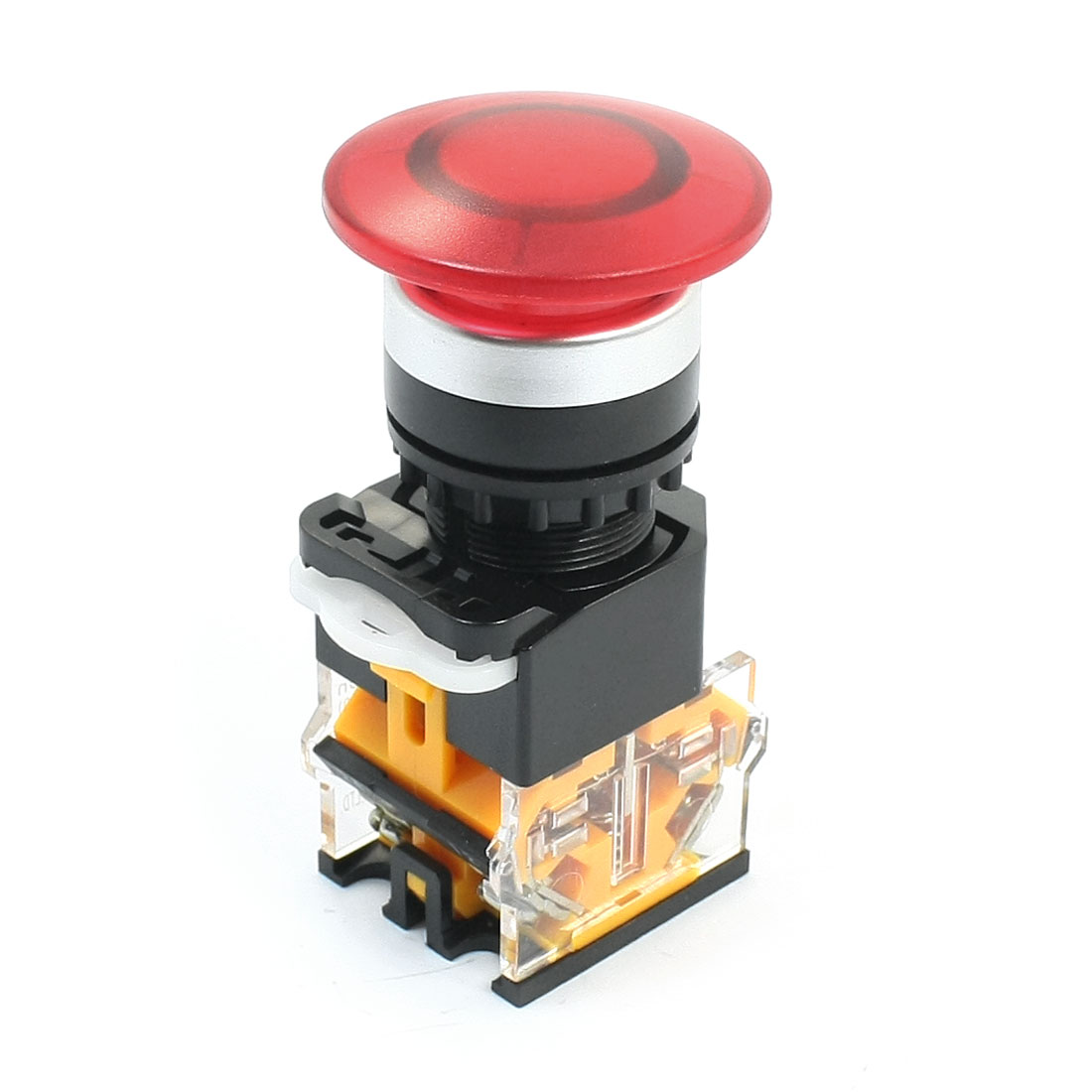 Red Mushroom Head 4-Terminals DPST Momentary Button Switch 660V 10A