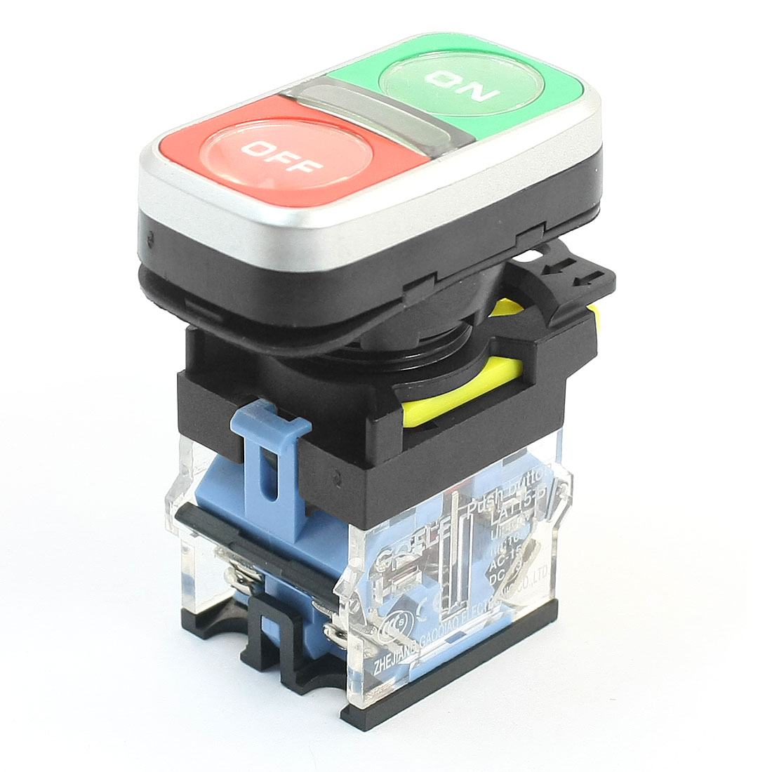 400V 10A 21mm Panel Cutout Dia ON/OFF Buttons DPST Momentary Button Switch