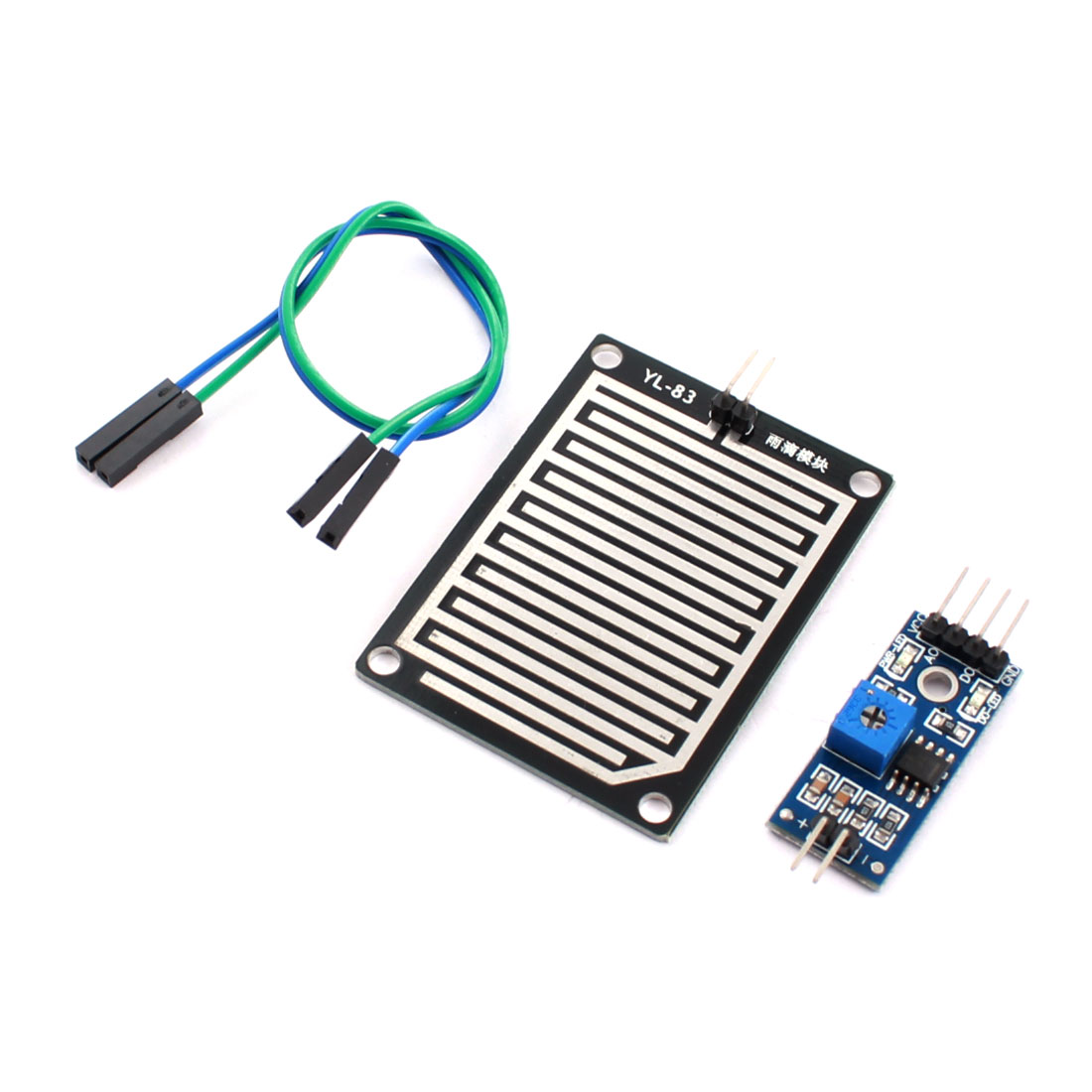 YL-83 DC 3.5-5V Rain Detection Moisture Sensor Weather Sensitivity PCB Circuit Module Black Blue w Jamper Wire