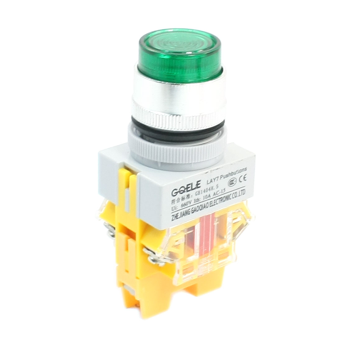 DPST 6-Terminal Green Momentary Push Button Switch w AC220V Lamp