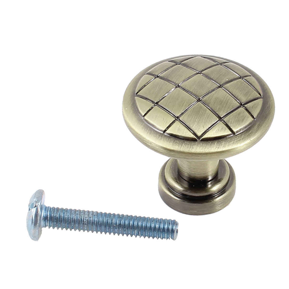 Brass Tone Grid Pattern Drawer Cupboard Cabinet Door Pull Knob