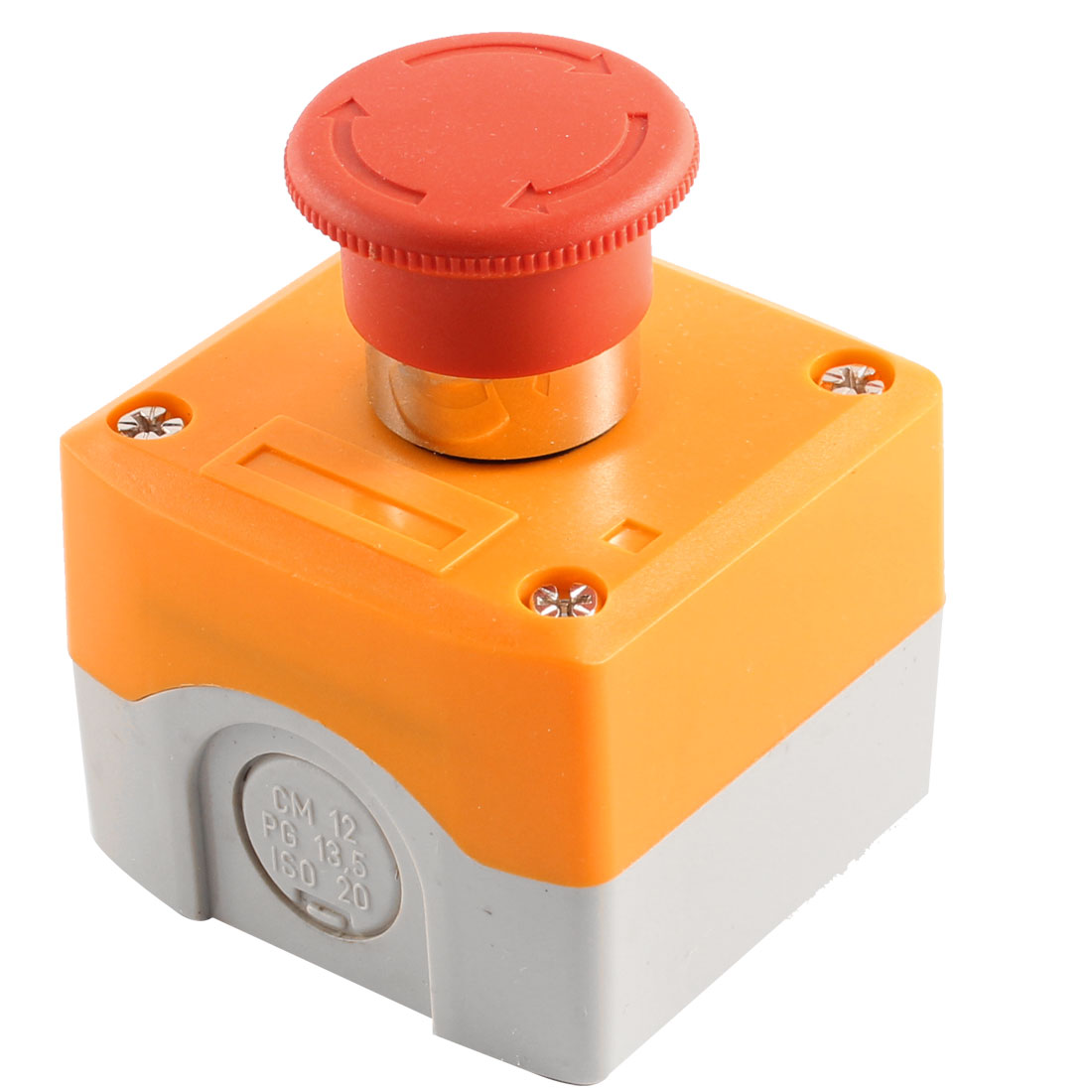 40mm Red Mushroom Head Latching Emergency Stop NC Pushbutton Switch w Box
