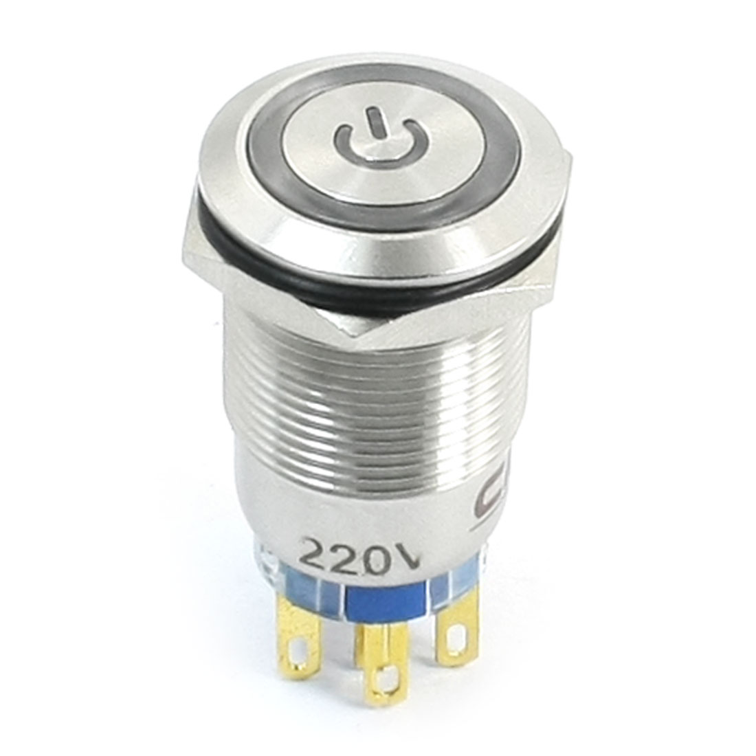 SPDT 1NO 1NC Momentary AC 220V Light Volt Stainless Steel Push Button Switch